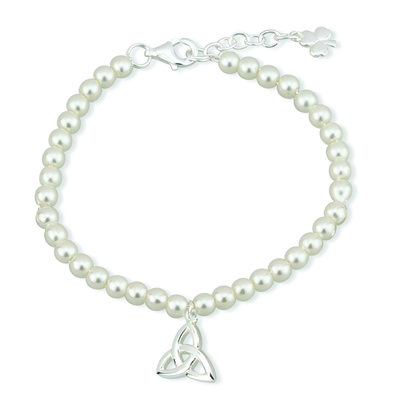 RHODIUM PLATED PEARL TRINITY KNOT BRACELET (BOXED)