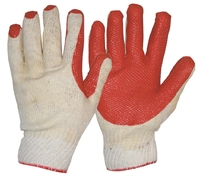 Heavy Duty Latex Coat Diamond Grip Glove White/Red