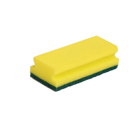 Contract Scouring Pad - Medium, Sponge Backed, X10, Green/yellow