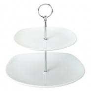 2 Tier Square Ceramic Cake Stand 19.5cm, 25cm