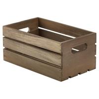 Wooden Crate Rustic 27 x 16 x 12cm Dark Finish