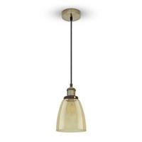 Vintage Glass Pendant Light Amber Ф140