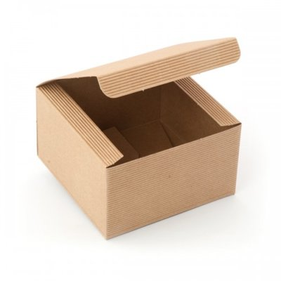 BOX CAKE/GIFT  200X200X100MM  NAT.CORREGATED