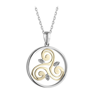 Two tone gold Celtic design Necklace S46803 on 18 inch sterling silver Rolo chain from Solvar
