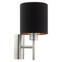 EGLO Satin Nickel and Black Shade Wall Light Round IP20 | LV1902.0108