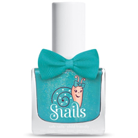 Blue/green kids-safe nail polish that washes off with soap and water.