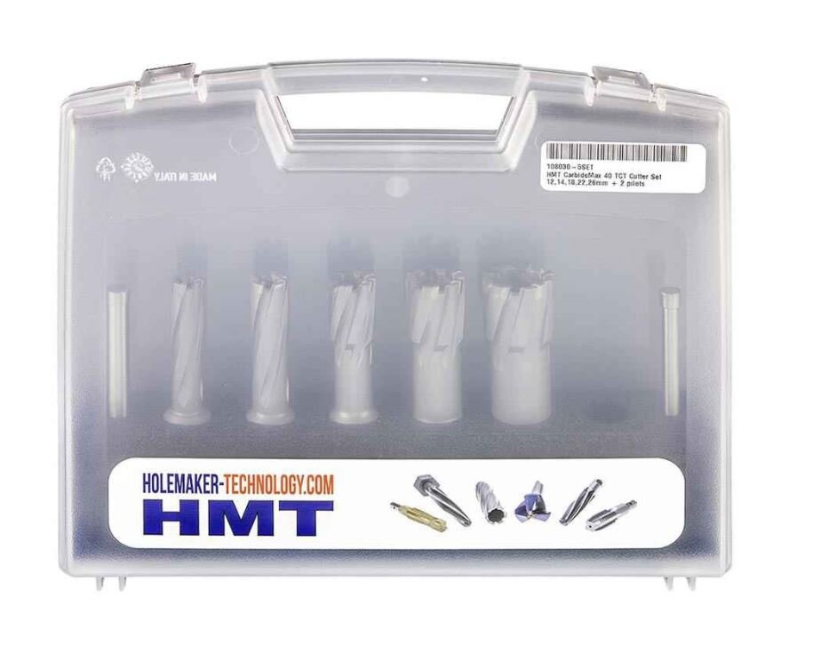 Hmt Carbidemax 40 Tct Cutter Set 12,14,18,22,26Mm + 2 Pilots 108030-5SET