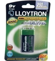 LLOYTRON RECHARGEABLE BATTERY 9V 250mAh