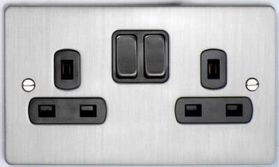 DETA Flat Plate 2gang socket Satin Chrome with Black Insert | LV0201.0169