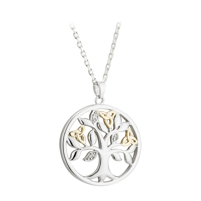10K GOLD & DIAMOND SILVER TREE OF LIFE PENDANT(BOXED)