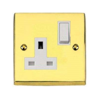 VICTORIAN BRASS HERITAGE SOCKET SWITCH 1 GANG 13A