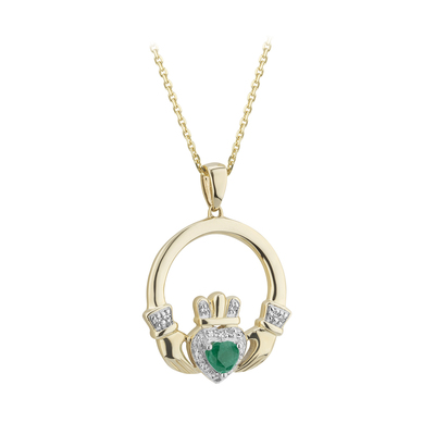 14K EMERLAD & DIAMOND CLADDAGH PENDANT (BOXED)