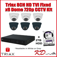 Triax 720p 8CH Dome CCTV Kit - White