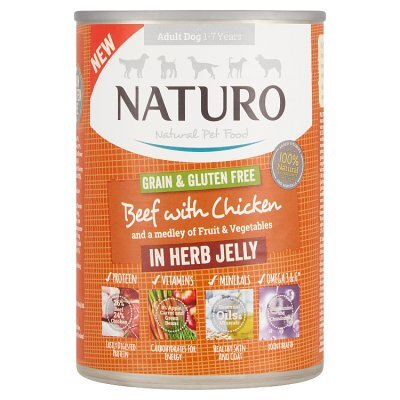 Naturo Adult Dog Cans Beef & Chicken in Herb Jelly 390g x 12