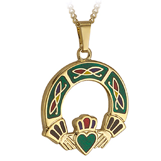 GP CLADDAGH PENDANT- GREEN(BOXED)