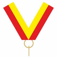 10mm Medal Ribbon with Clip (Red & Yellow)