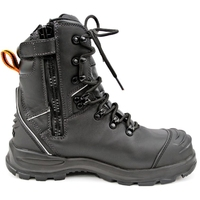 Bison Extreme Lace Up/Zip Safety Boot with Scuff Cap Black