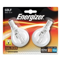 ENERGIZER ECO HALOGEN 42W (60W) E14 CLEAR GOLF BALL LAMP CARD 2