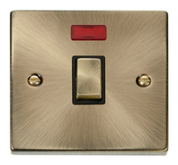 Deco Antique Brass 1G 20A DP Switch Neon