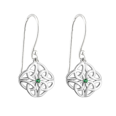 S/S CRYSTAL CELTIC KNOT DROP EARRING