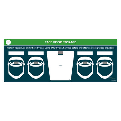 Wall mounted face visor storage station - to take 4x face visors and QRD wipes