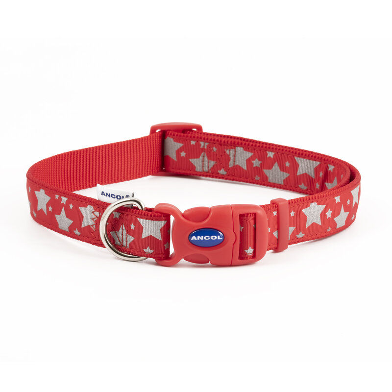 Ancol Paw and Bone Adjustable Reflective Red Dog Collar 45 - 70cm