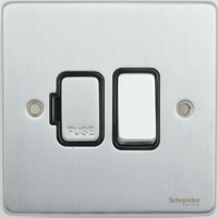 Schneider Ultimate Low Profile Fused with switch Brushed Chrome with Black Insert | LV0701.0030