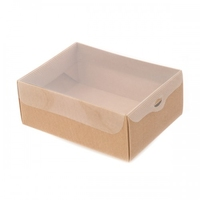 BOX GIFT/PVC LID 150X100X80MM  NAT.CORRAGATED