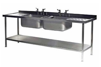 Sink Unit Stainless Steel  Double Bowl 2100mm x 700mm