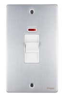 Schneider Ultimate Low Profile Tall Cooker switch with neon Brushed Chrome with White Insert | LV0701.0015