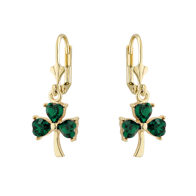 GP GREEN CRYSTAL SHAMROCK DROP EARRINGS