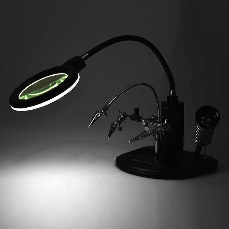 Helping Hands LED Illuminated Magnifying Glass, Soldering Iron