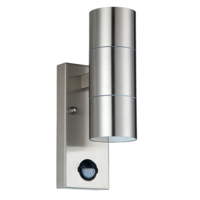 NEXUS STAINLESS STEEL UP/DOWN GU10 WALL LIGHT WITH PIR SENSOR (LESS BULBS)