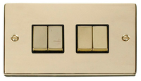 Click Deco Victorian Polished Brass with Black Insert 4 Gang 2 Way 'Ingot' Switch | LV0101.0175