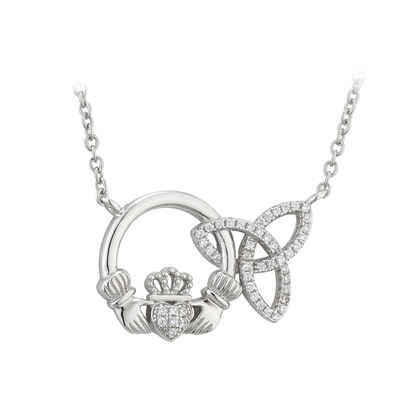 STERLING SILVER INTERLOCKING CLADDAGH TRINITY PENDANT