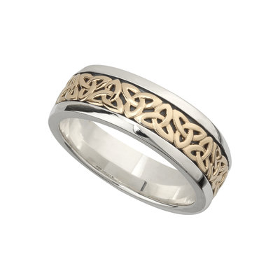 GENTS SILVER & GOLD TRINITY KNOT RING (BOXED)