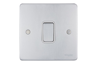 Schneider Ultimate Low Profile Intermediate switch Brushed Chrome with White Insert | LV0701.0005