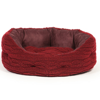 "Danish Design Oval Slumber Bed - Bobble Fleece Damson Red 18"" x"