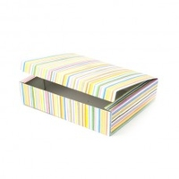 BOX W/LID ONE PIECE 40x32x12CM MULTI STRIPE