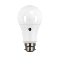 9W BC/B22 LED OPAL 810 LUMEN PHOTOCELL LAMP GLS WARM WHITE 2700K 25000 HOUR