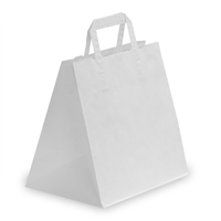Flat Handle Carrier Bag White 320mm x 140mm x 420mm