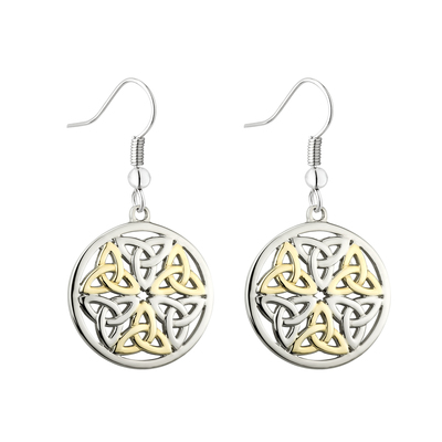 TWO TONE PLATED CELTIC TRINITY DROP EARRINGS