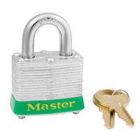 Master Lock Green laminated steel safety padlock, 40mm wide with 19mm tall shackle, keyed alike
