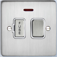 DETA Flat Plate Fused Spur with neon Satin Chrome with White Insert | LV0201.0192