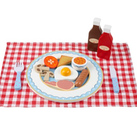 wooden English breakfast play set