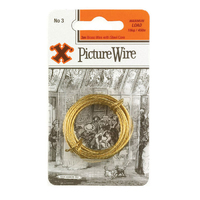 X Brass Picture Wire No.3 Solid Brass 3m Blister Pack
