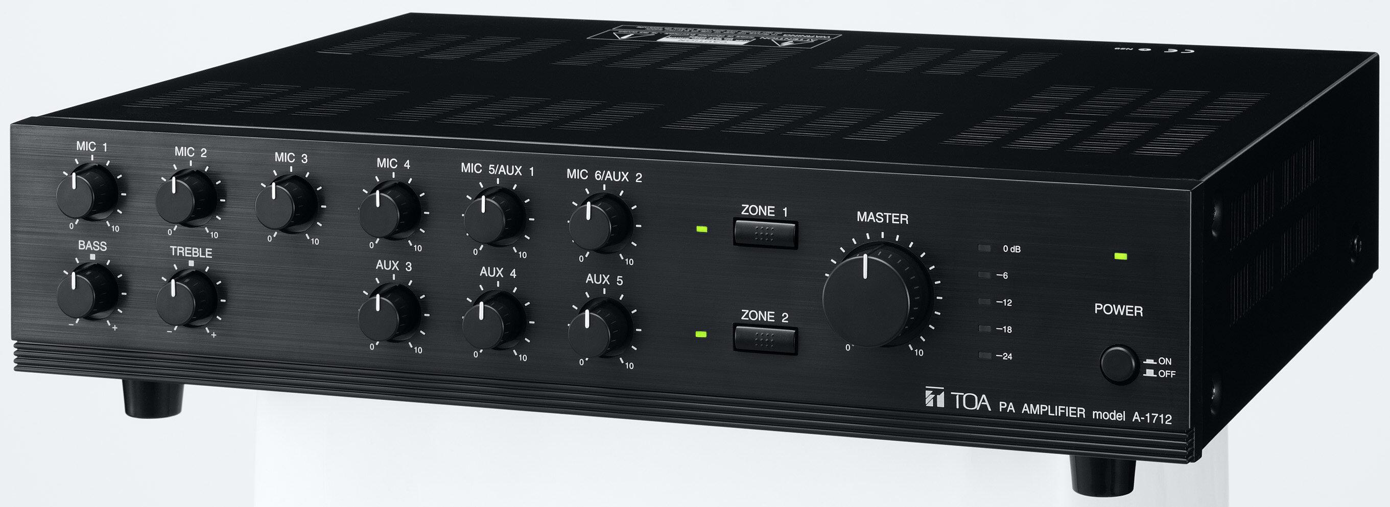 TOA A-1712 1700 Series 120 Watt Mixer Amplifier, 9 Input, 2 Zone