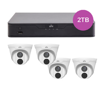 Uniview 8CH 2TB PoE 4K NVR and 4 x 4MP Eyeball Turret Cameras