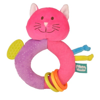 Pink cat teether toy for babies
