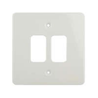 Flat cover plate 2g White metal c/w mount frame|LV0701.0995